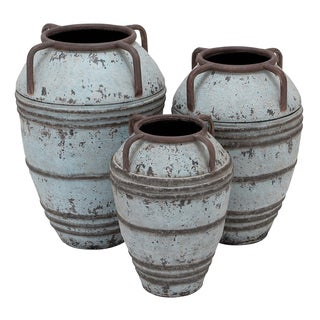 Rustic Grey Metal Vase (Set of 3)