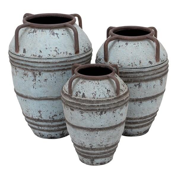 Rustic Grey Metal Vase (Set of 3)