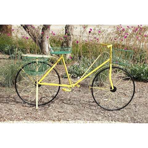 Traditional 32 x 54 Inch Iron Yellow Bicycle Plant Stand by Studio 350