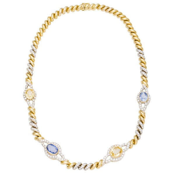 18k Yellow Gold 3 1/4ct Tdw Diamond And Sapphire Link Estate Necklace (G by Generic