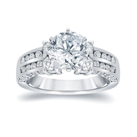 Auriya 14k Gold 3 1/5ctw Modern Round Diamond Engagement Ring