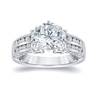 Auriya 14k White Gold 3 1/5ct TDW Round Diamond Engagement RIng