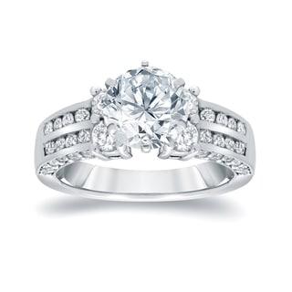 Auriya 14k White Gold 3 1/5ct TDW Round Diamond Engagement RIng (I-J, I1-I2)