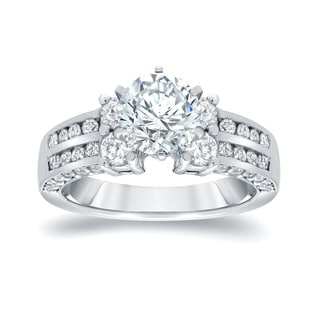 Auriya 14k White Gold 2 3/4ct TDW Round Diamond Engagement RIng (I-J, I1-I2)