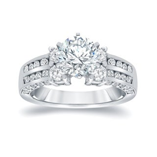 Auriya 14k White Gold 2 3/4ct TDW Round Diamond Engagement RIng