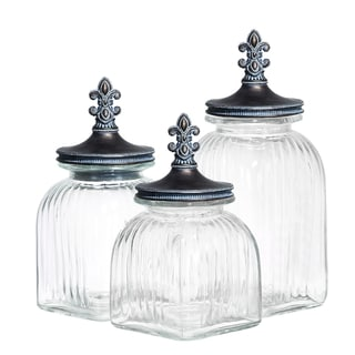Glass Canister with Metal Toppers (3 piece Set)
