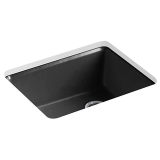 Kohler Riverby Undermount Cast Iron 25 inch 5-hole Single Bowl Kitchen Sink in Black Black