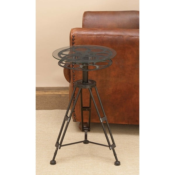 Eclectic 25 Inch Black Classic Camera Reel Accent Table by Studio 3.50