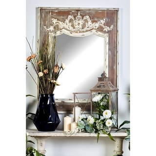 "43"" x 33"" Inch Queen Anne Embossed Wall Mirror by Studio 350 - Brown"