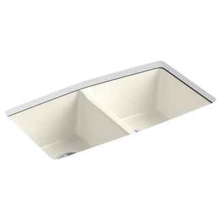 Kohler Brookfield Undermount Cast Iron 22x33x9.625 5-hole Double Bowl Kitchen Sink