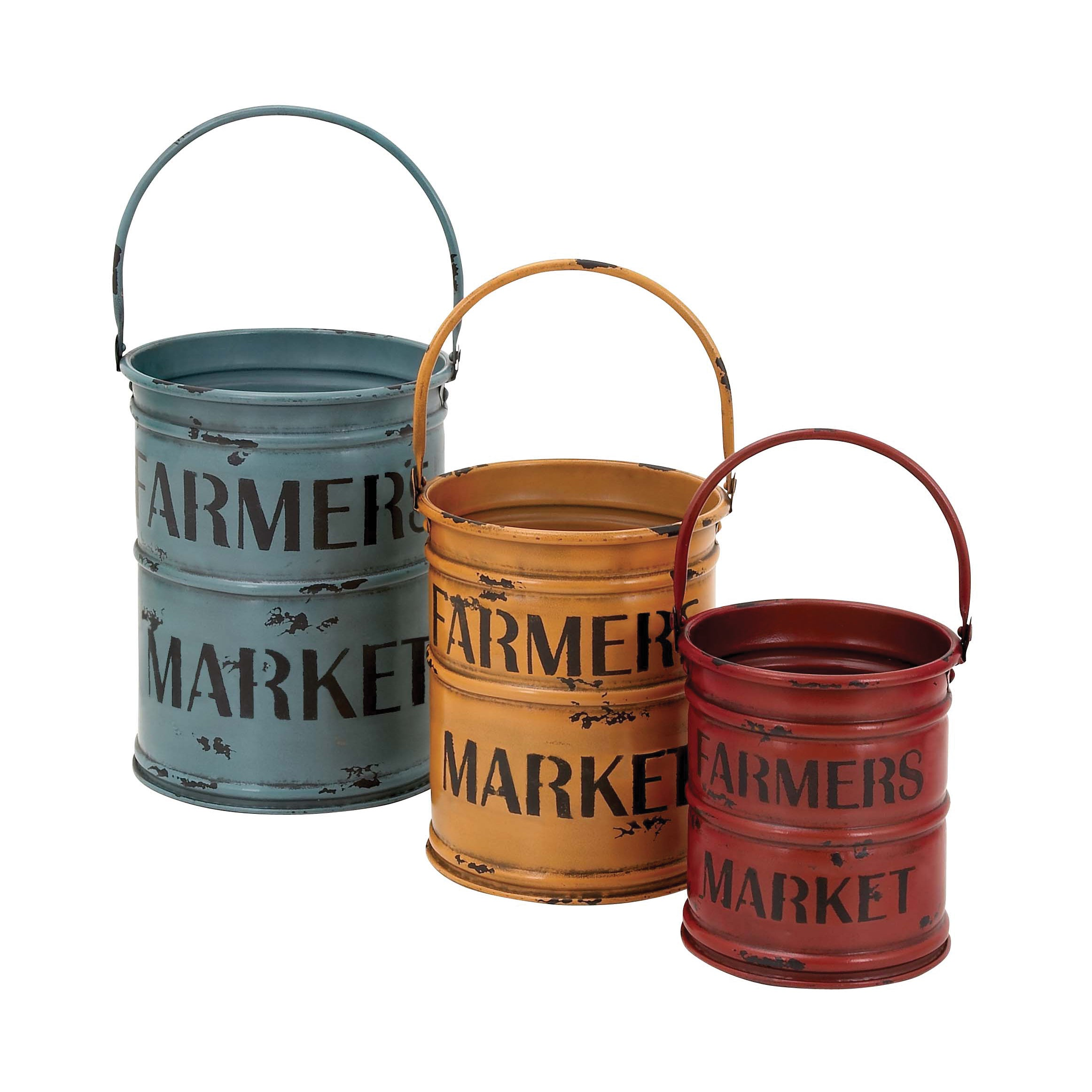 Studio 350 Farmhouse Distressed Metal Containers (Set of ...