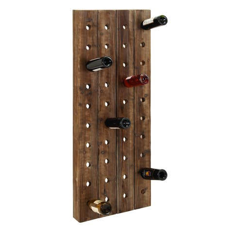 Carbon Loft Graysen Wood Finish Pegboard Wine Rack