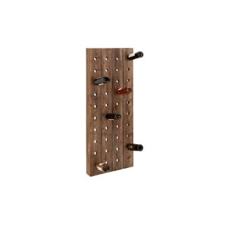 Farmhouse Wood Finish Pegboard Wine Rack