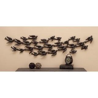 Iron Flock of Birds in Flight Wall Sculpture
