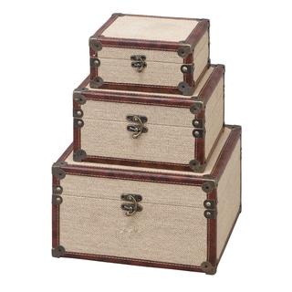 Wood Burlap Box (Set of 3)
