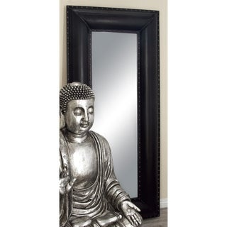 Tall Ebony Faux Leather Mirror