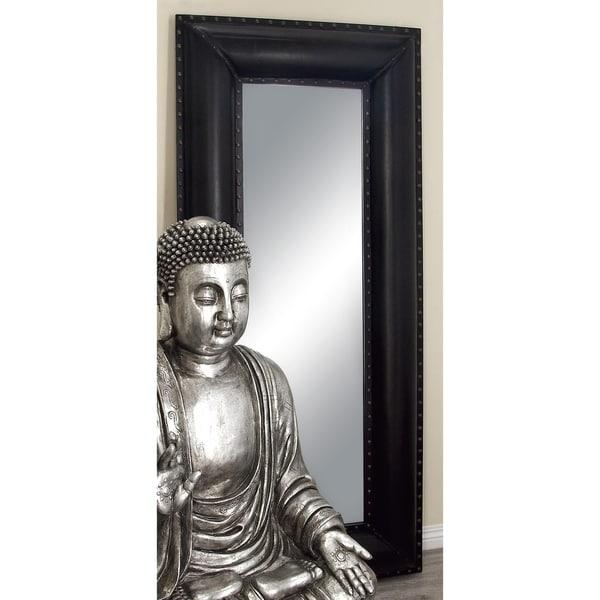 Tall Ebony Faux Leather Mirror - Black