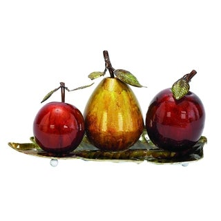 Studio 350 Multicolored Iron Modern Reflection Metallic Fruit Orbs