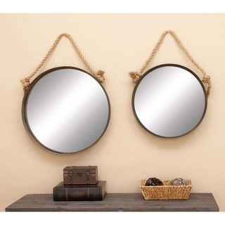 Set of 2 Jute Rope and Metal Hanging Mirrors