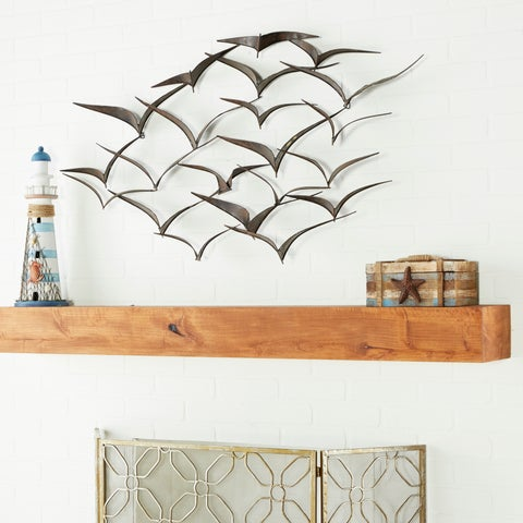 "47"" x 26"" Brown Iron Flying Birds Wall Décor Modern Metal Wall Art by Studio 350"