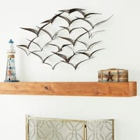 "47"" x 26"" Brown Iron Flying Birds Wall  Art by Studio 350"