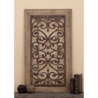 "Link to 26"" x 46"" Distressed Wood & Brown Metal Wall Art Panel w/ Scroll Design by Studio 35 Similar Items in Wood Wall Art"