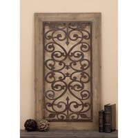 "26"" x 46"" Distressed Wood & Brown Metal Wall Art Panel w/ Scroll Design by Studio 35"