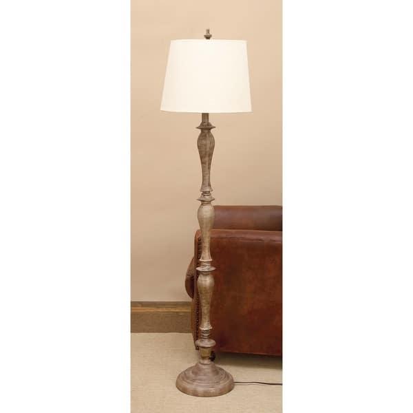 Brown Turned Wood And Resin Floor Lamp