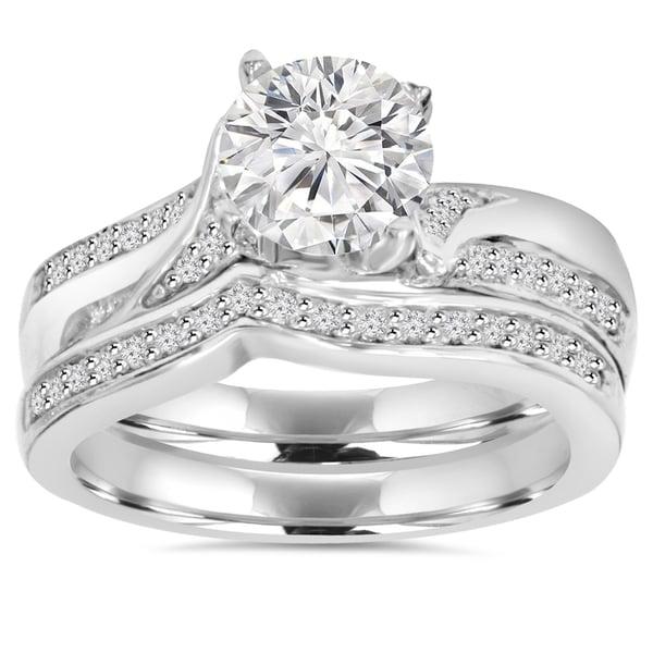 Bliss 14k White Gold 3/4 ct TDW Diamond Wedding Ring Set