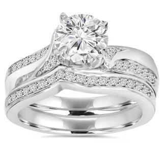 Pompeii3 14k White Gold 3 4 Ct TDW Diamond Wedding Ring Set