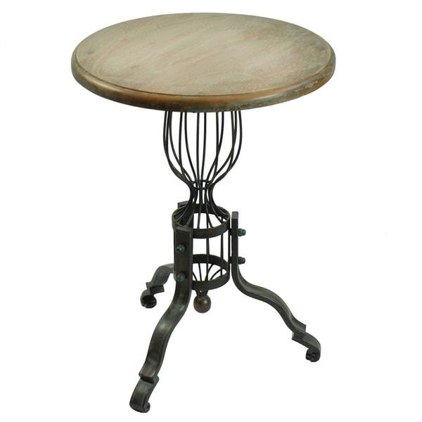 Accent Table 25 Inch High With Wood Top Metal Base