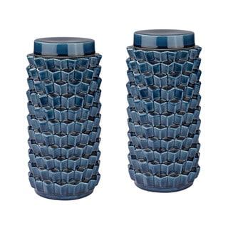Dimond Home Accordion Crackled Blue Jar
