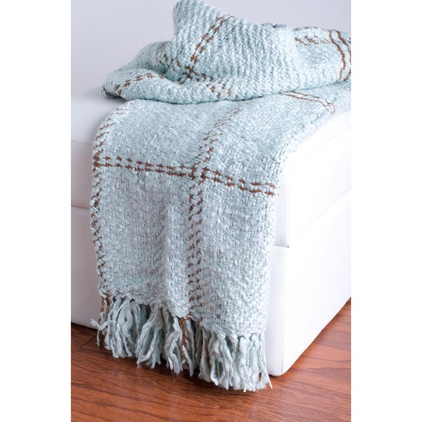Rizzy Home Teal Decorative Throw