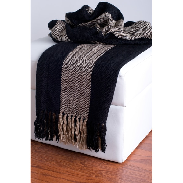 Rizzy Home Black And Beige Decorative Throw