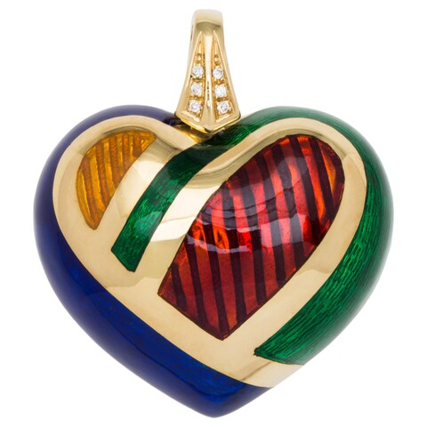 18k Yellow Gold 1/10ct TDW Diamond Giant Puffed Heart Multi-colored Enamel Estate Pendant