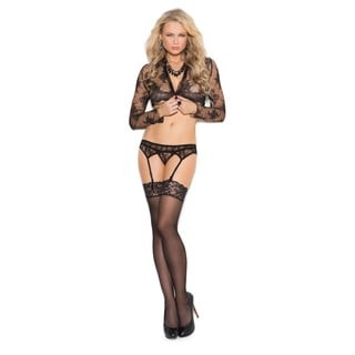 Elegant Moments Women's Lace Garter Belt with Matching Thong