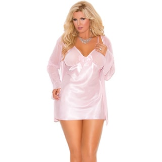 Elegant Moments Women's Plus Size Satin Babydoll/ Matching G-string and Mesh Long Sleeve Coat