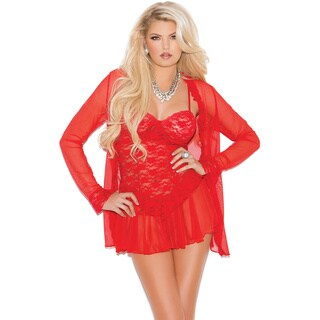 Elegant Moments women's lace and mesh babydoll/ g-string and long sleeve coat