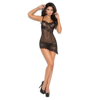 Elegant Moments Women's Mesh Babydoll with Asymmetrical Lace Insert and G-string