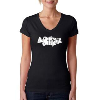 La Pop Art Women's Gone Fishin' Bass V-neck Graphic T-shirt