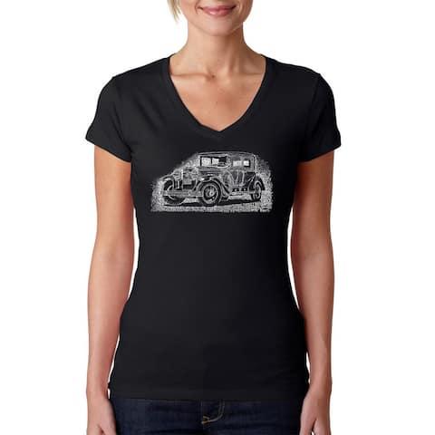 La Pop Art Women's Mob Car V-neck Graphic T-shirt