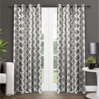 ATI Home Modo Metallic Geometric Curtain Panel Pair with Grommet Top