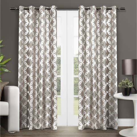 The Curated Nomad Sloat Metallic Geometric Grommet Top Curtain Panel Pair