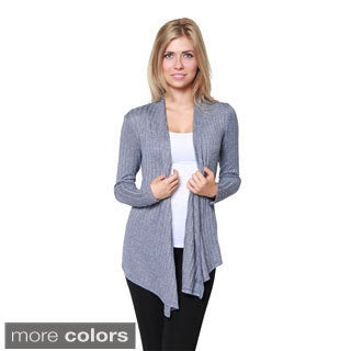 Free to Live Women's Ribbed Open Front Cardigan Layering Sweater