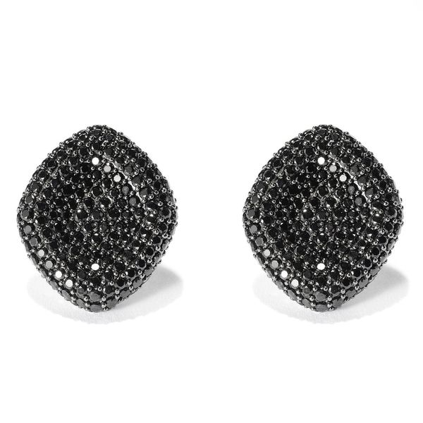 Sterling Silver 11 2 3ct Black Spinel Stud Earrings