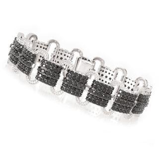 Sterling Silver 12 5/8ct Black Spinel Link Bracelet