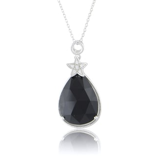 Sterling Silver 12 1/6ct Created Black Onyx 18-inch Necklace