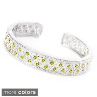 18k Yellow Gold over Sterling Silver Round Gemstone Two-row Hinged Cuff Bracelet|https://ak1.ostkcdn.com/images/products/10473324/P17563196.jpg?impolicy=medium
