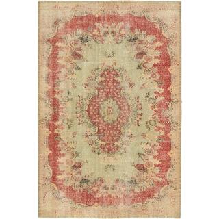 Ecarpetgallery Anatolian Sunwash Light Green/ Red Wool Medallion rug (6'0 x 8'11)