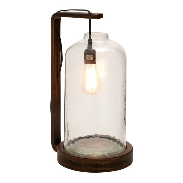 19-inch Brown Wooden Table Lamp